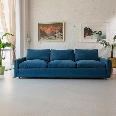 Blue Hollywood Regency Sofa