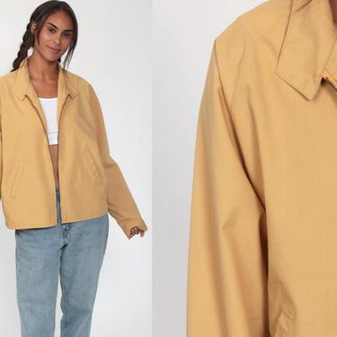 80s Tan Jacket Retro Plain Zip Up Raglan Sleeve Jacket Windbreaker Bomber Sports Normcore Hipster Collar Vintage 1980s Retro Medium Large by ShopExile
