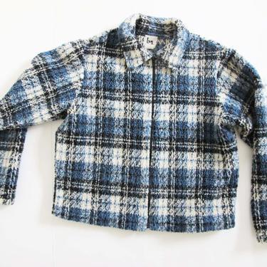 Vintage 90s Fleece Jacket S - 90s Deep Pile Blue Plaid Fleece Jacket - Cropped Boxy Fleece Zip Up Jacket - 90s Clothing by MILKTEETHS