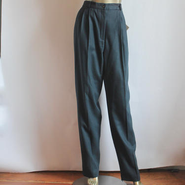 Spruce Blue Wool 1980's High Waist Front Pleat Trousers size  14T by BeggarsBanquet