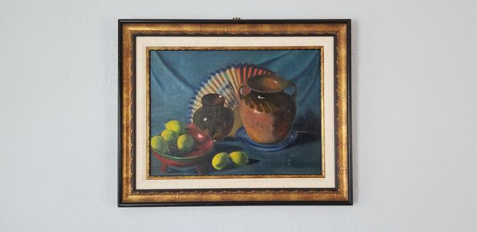 1980s Midcentury Still Life Oil Painting by F. Merrim. by MIAMIVINTAGEDECOR