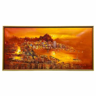 Mid Century Seascape Abstract Original Painting by VivaLaVintagedotTX