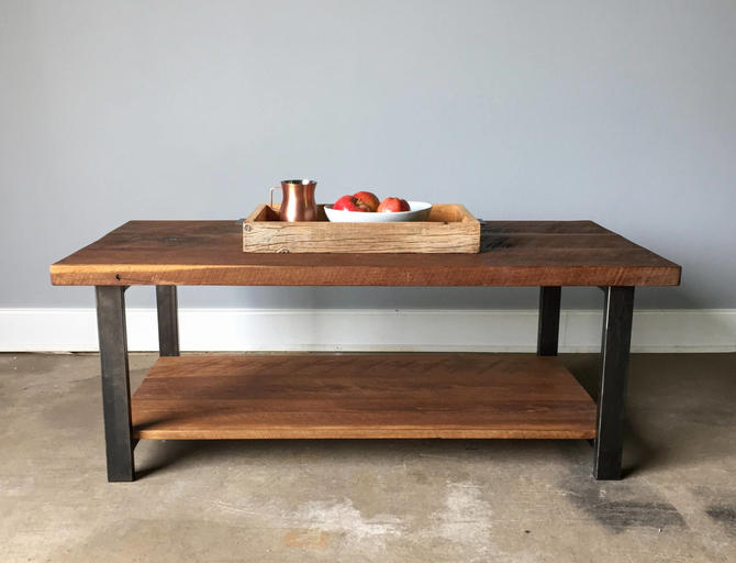 Coffee Table With Lower Shelf / Industrial Reclaimed Wood Coffee Table by wwmake