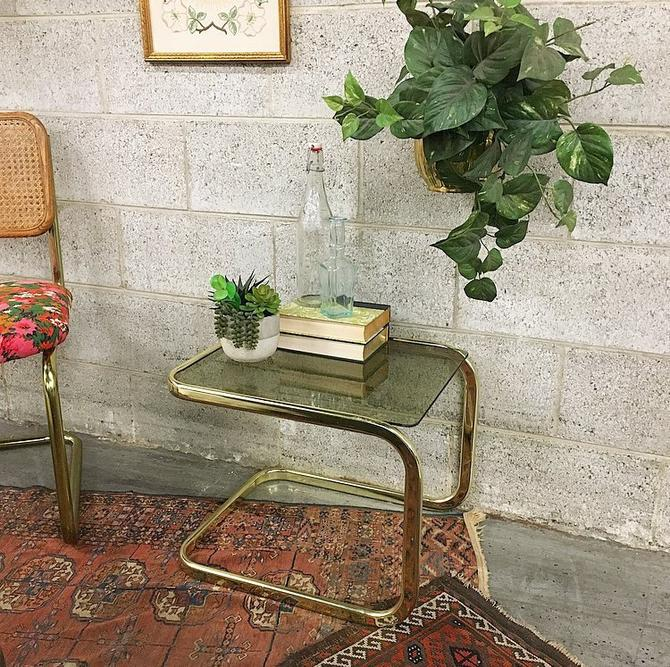 LOCAL PICKUP ONLY Vintage End Table Retro 1980s Tinted Smokey Glass Top With Gold Metal Frame Side or End Table for Living Room + Bedroom by RetrospectVintage215
