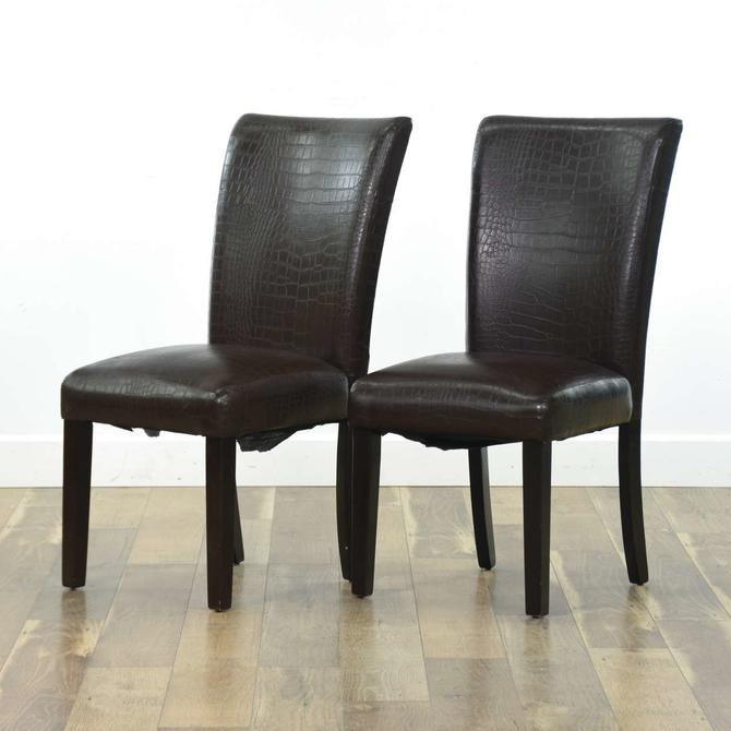 Pair Of Chocolate Faux Crocodile Print Dining Chairs