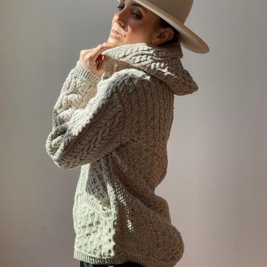Vintage Aran Irish Zip-Up Hoodie Sweater   Aran Deadstock Wool Sweater by ShopLaTierra