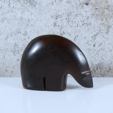 Modernist Carved Wooden Bear Figure - Minimalist Polar Bear Figure by MostlyMidModern