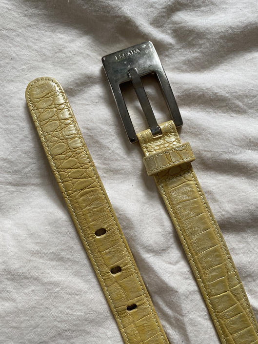 Yellow Embossed Escada Belt by DiscoLaundryVintage