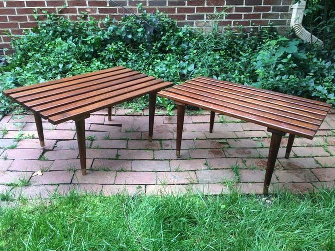 Vintage mid century walnut slat benches —