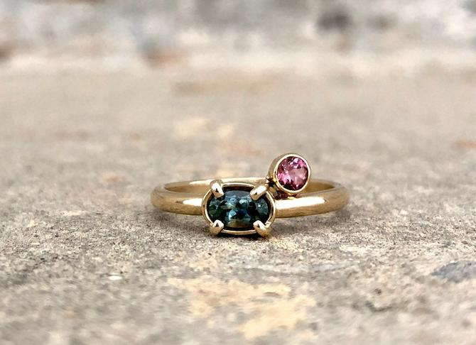 Teal Montana Sapphire and Pink Sapphire Corner Ring in 14k Yellow Gold alternative engagement ring statement ring every day ring by RachelPfefferDesigns