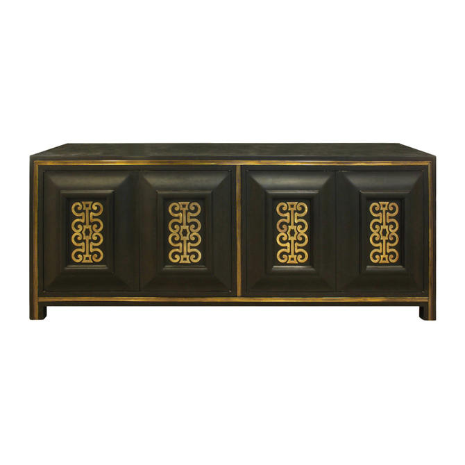 Mastercraft Chic Credenza in Dark Carpathian Elm and With Brass 1960s