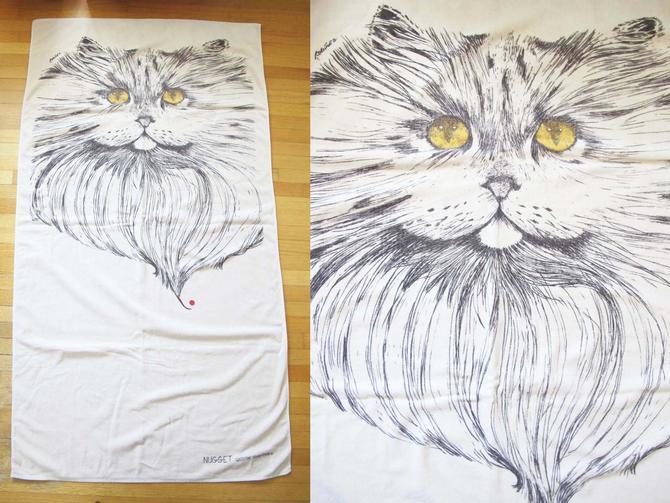Vintage Cat Beach Towel - 1980s Long Hair Cat Towel - Vintage Cotton Pool Towel - Cat Lover Gift - Best Friend Present by MILKTEETHS