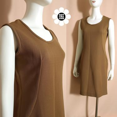 Simple Yet Chic Vintage 60s 70s Caramel Brown Jumper Dress by RETMOD