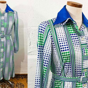 Vintage Green Navy Blue White Polka Dot Dress Shirt Button Front 70s 1970s Long Sleeve Pointed Collar Belted Striped Mod Medium Large by CheckEngineVintage