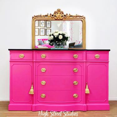 Fabulous Fuchsia Buffet, Sideboard, Console, Credenza, Vintage, Antique by LaVidaBellaDesign