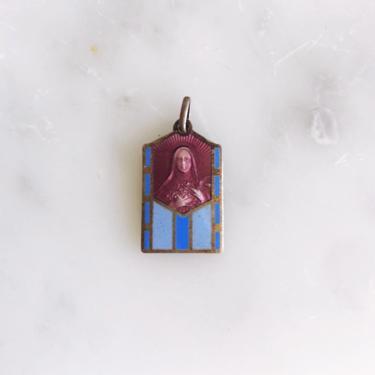Vintage Mary Catholic Enamel Medal Pendant by TheDistilleryVintage