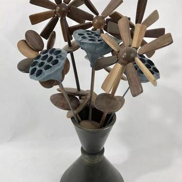 Danish Modern Mid Century Poppy Flower Teak Wood W/Bronze Vase