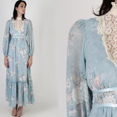 Vintage 70s Candi Jones Floral Dress / Peasant Style Waist Tie Dress / 1970s Lace Bodice / Long Cottagecore Designer Wedding Dress by americanarchive