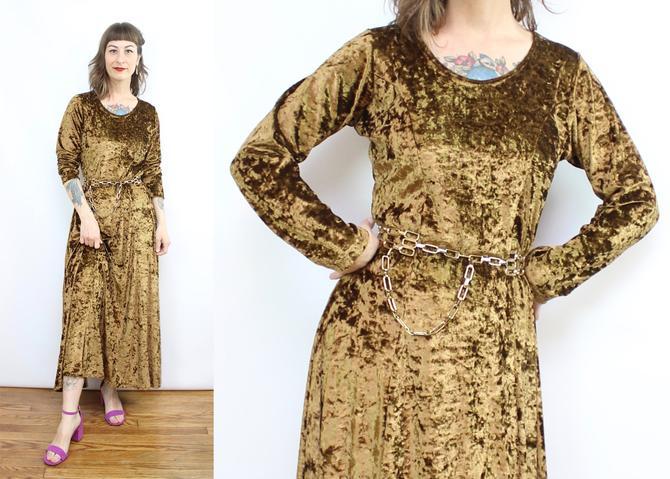 Vintage 90's Crushed Velvet Copper Dress / 1990's Long Sleeve Velvet Midi Dress / Women's Size Medium Large by RubyThreadsVintage