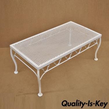 White Wrought Iron Patio Coffee Table Rectangular Metal Mesh Top 33 Long