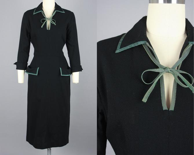 1940s Wool Crepe Dress with Pockets & Tie Neckline | Vintage 40s Black Dress | small by RelicVintageSF