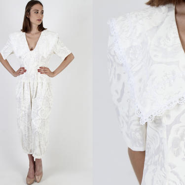 All White Bubble Leg Jumpsuit / Vintage 80s Rose Print Pockets Playsuit / Wide Lace Collar One Piece Pantsuit by americanarchive