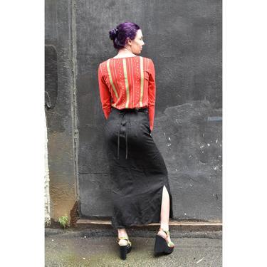 1990's | Claude Montana | Black Linen Maxi Skirt by LadyofLizard