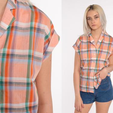 Peach Plaid Shirt 80s Button Up Blouse Checkered Print Orange Cap Sleeve Boho Top 1980s Short Sleeve Thin Vintage Medium by ShopExile