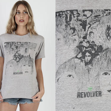 The Beatles Band T Shirt Revolver T Shirt Vintage 80s Lennon McCartney Pop Art Rock Concert Tour Apple Records Heather Grey Tee by americanarchive