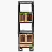 Oriental Black Rim Natural Wood Narrow Storage Display Bookcase Cabinet cs5156S