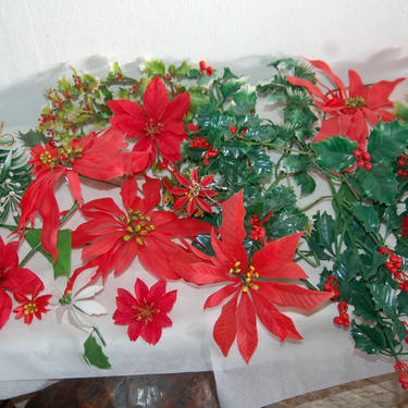 Vtg 1960's Artificial / Plastic Lot Christmas Greenery, Red Poinsettias, Holly Leaves / Stems, Red Berries, Evergreens ~ Made in Hong Kong by YesterdayAndTomorrow