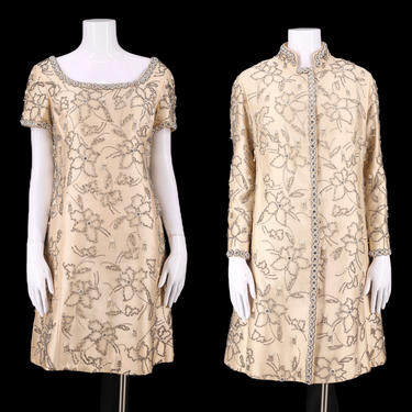 60s beaded cocktail Dress & coat  / vintage 1960s silk wedding evening outfit M-L by ritualvintage