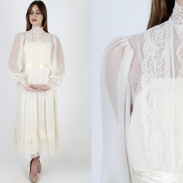Vintage 70s Ivory Chiffon Wedding Maxi Dress / 1970s Off White Formal Bridal Ceremony / Solid Lace Long Poet Sleeve Womens Dress by americanarchive