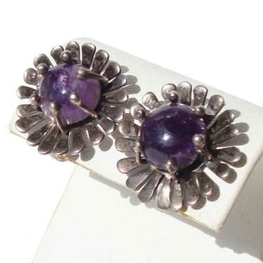 40s Art Deco Mexican Earrings Amethyst & Sterling Silver by MetroRetroVintage