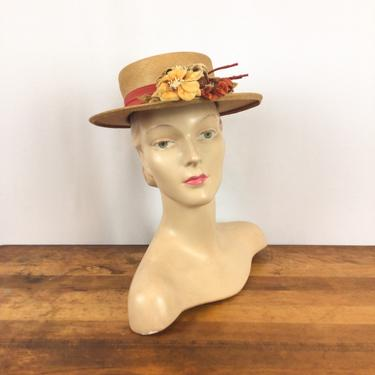 Vintage 40s hat | Vintage yellow woven straw boater hat  | 1940s Austelle Fashion millinery by BeeandMason