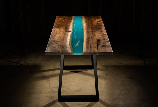 Blue Water Resin Hi-Top Table by KirkpatrickDesigns