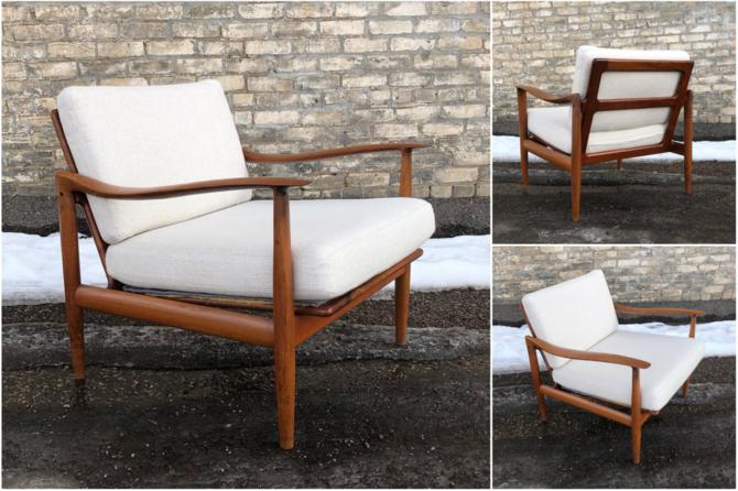 Teak Frame Easy Chair With Belgian Linen Cushions