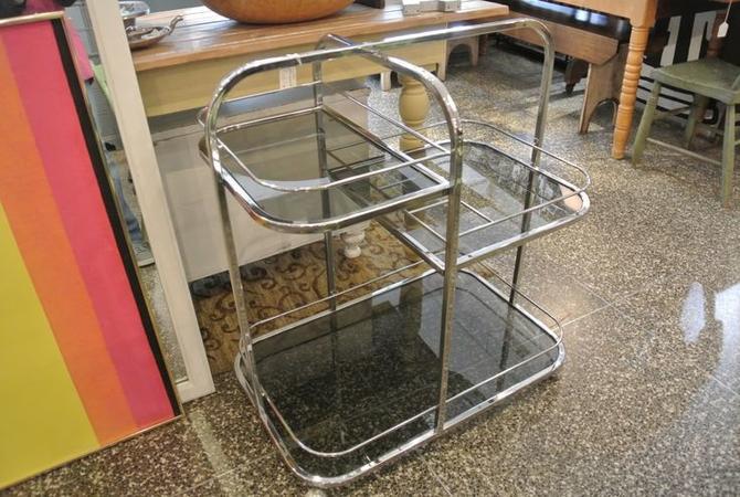 Chrome and glass serving / bar car. $195
