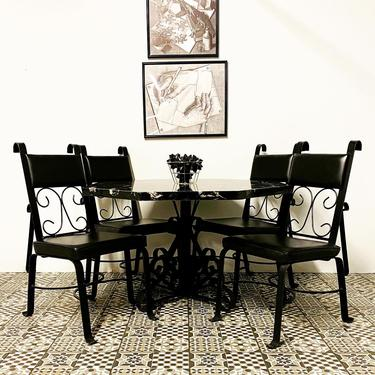 MCM Brutalist Hand Forged Marble Table & Set of Four Chairs with Vinyl Cushions by VivaLaVintagedotTX