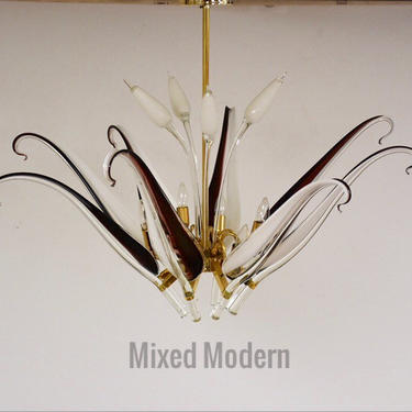 Franco Luce for Seguso Murano Glass and Brass Chandelier by mixedmodern1