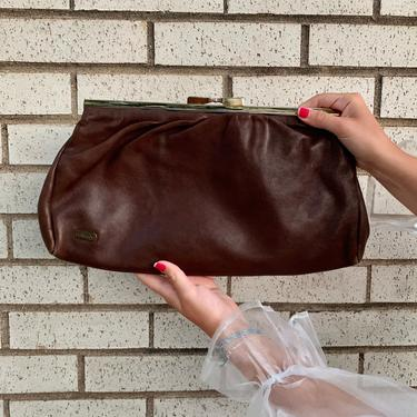 Brown Leather Clutch by krispyfringe