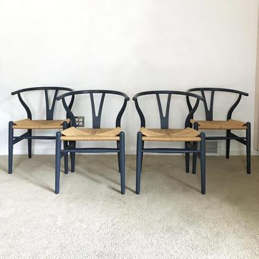 vintage Danish modern (4) Hans Wegner CH24 Wishbone dining chairs set of 4 by TripodModern