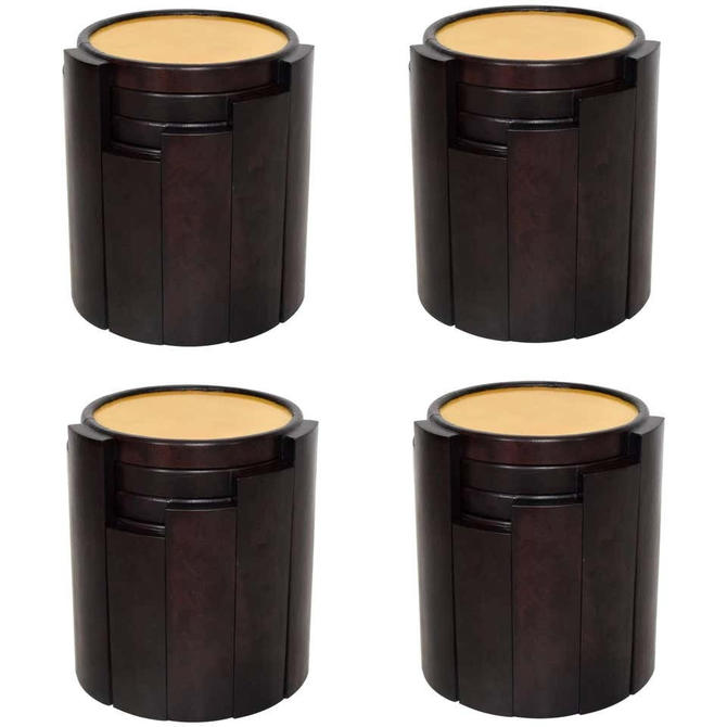1950s Escudero Modernism Nesting Tables in Goatskin and Leather Set of Four by AMBIANIC