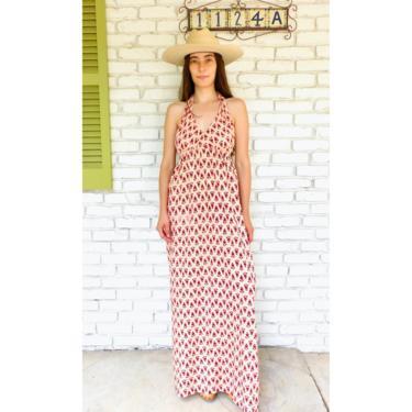Indian Sweetheart Dress // vintage boho cotton sun maxi hippie hippy pink halter 70s 1970s hand blocked caftan kaftan // O/S by FenixVintage