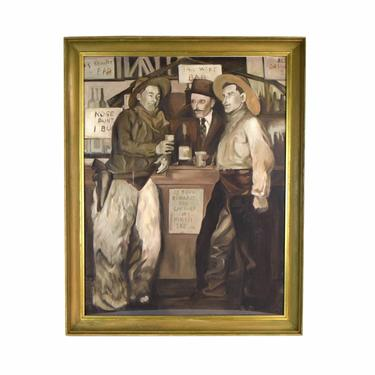 Vintage Sepia Tone Oil Painting Cowboys Drinking Bonnie Zak Chicago artist by PrairielandArt
