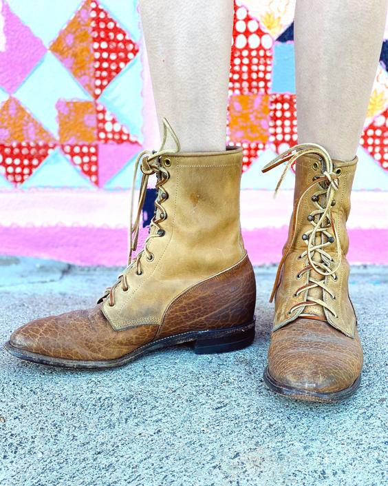 Brown Tone Lace Up Ropers