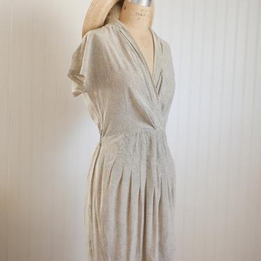 vtg silk polka dot wrapover dress - xs/s by foganddriftwood