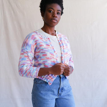 Vintage 70s Space Dyed Cropped Cardigan/ 1970s Pastel Button Up Sweater/ Size XS Small by bottleofbread