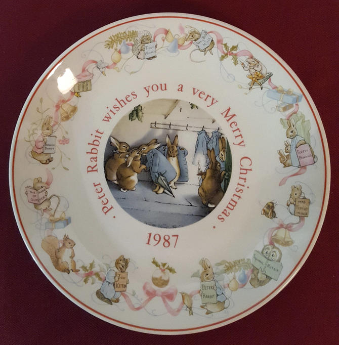 Vintage Beatrix Potter Nursery Ware 1987 Peter Rabbit Christmas Plate By Wedgwood by OverTheYearsFinds