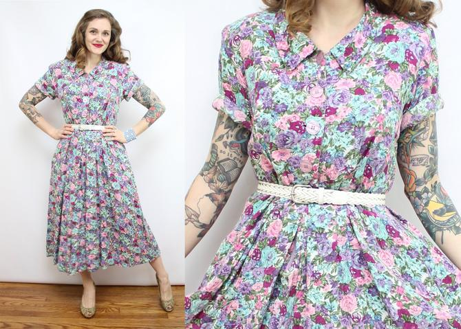 Vintage 80's Spring Floral Day Dress / 1950's Style 80's Spring Floral Dress / Peter Pan Collar / Women's Size Large XL by RubyThreadsVintage